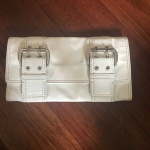 Authentic Michael Kors white leather clutch
